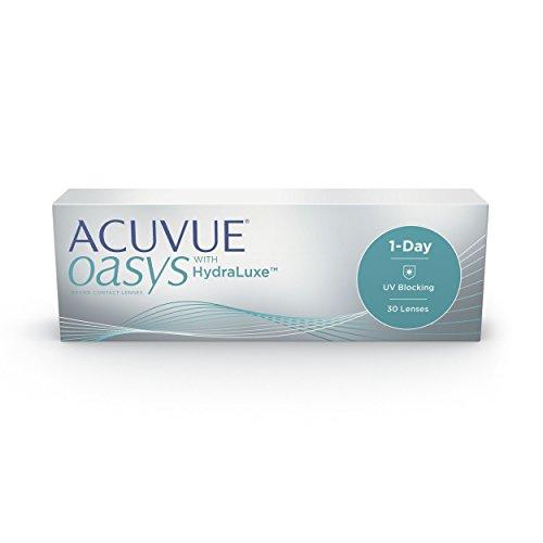 ACUVUE OASYS 1 päivän päivittäiset linssit auttavat vähentämään väsyneiden ja kuivien silmien tunnetta - päivittäiset piilolinssit, joissa on -3 D ja BC 8.5 - UV-suoja ja ...