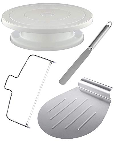 STAR - LINE 4 piece cake plate, rotatable set incl. Cake lifter, spreading palette and cake cutter | Stainless steel - dishwasher safe