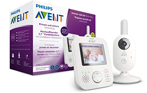 Philips AVENT SCD833/26 Video-Babyphone, 2,7 Zoll Farbdisplay, ECO-Mode, Gegensprechfunktion, weiß-grau