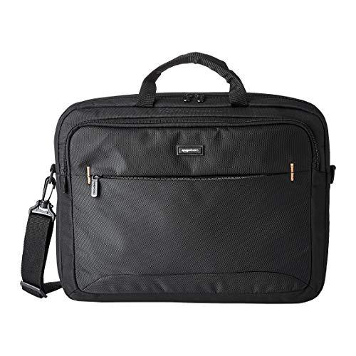 Amazon Basics kompakte Laptoptasche, Umhängetasche/Tragetasche mit Taschen zur Aufbewahrung von Zubehör, für Laptops bis zu (17,3 zoll - 44 cm), Schwarz, 1 Stück