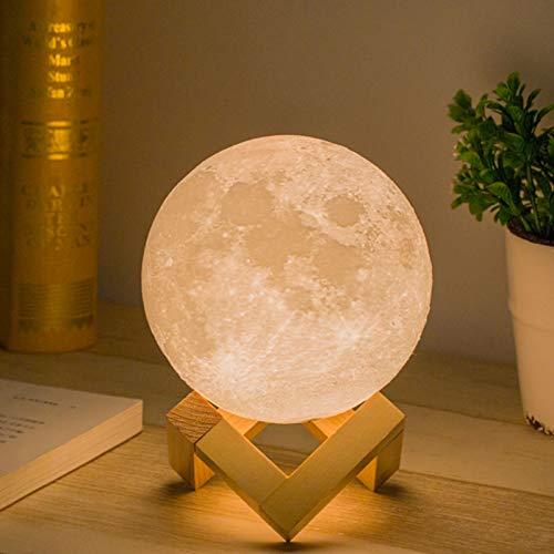 Mydethun Mondlampe 3d Druck Kinder Mond Lampe Nachtlicht,Dimmbar 2 Farbe USB Lade romantisches Geschenk für Schlafzimmer Geburtstag Weihnachten 12cm