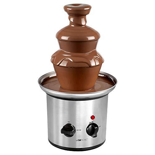 Clatronic SKB3248 SKB 3248 Schokoladenbrunnen, für Jede Schokolade und Karamell mit Schmelz-und Fließfunktion, INOX, Edelstahl