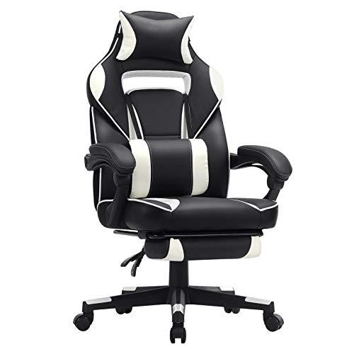 SONGMICS Gamingstuhl, Schreibtischstuhl mit Fußstütze, Bürostuhl mit Kopfstütze und Lendenkissen, höhenverstellbar, ergonomisch, 90-135° Neigungswinkel, bis...
