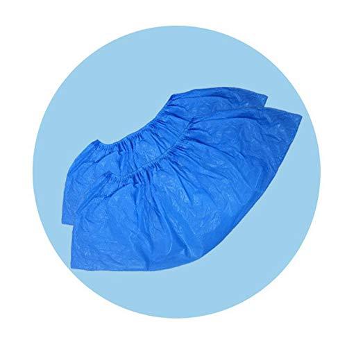 Schuhüberzieher, CPE Überschuhe Einweg 100 Stück, AURMOO 4,5 g Einweg Schuhüberzieher Rutschfest und Wasserdicht aus Hochwertigem CPE Material.(50 Paare, Blau)