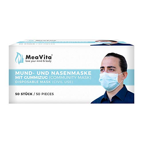 MeaVita mouth and nose mask, pack of 50, disposable mask, 3-layer elastic band