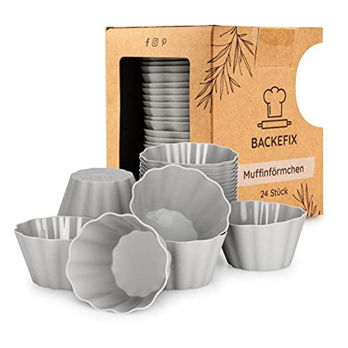 Backefix *neue* Muffinförmchen aus Silikon, Muffincups ideal als Cupcakes - Stabiler, größer und hochwertiger als zuvor - 24 Stück