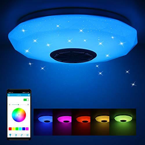 Frontoppy 36W LED Deckenleuchte mit Bluetooth Lautsprecher, Fernbedienung oder APP-Steuerung, Farbwechsel-Option, 3400 Lumen Ø29cm Dimmbare Deckenleuchten für...
