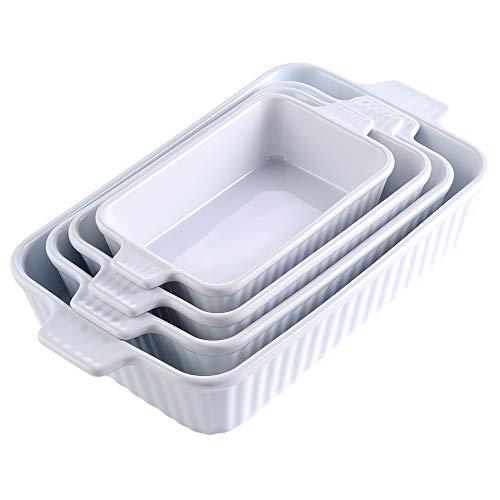 MALACASA, Serie Bake.Bake, 4er Set Porzellan Backform Kuchenform Brotbackform Back Schale Auflaufform Ofenform Teller Suppenteller in 4 Größe Weiß