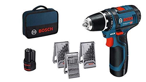 Bosch Professional GSR 12V-15 Bohrschrauber, 2x2,0 Ah Akku, Zubehör, Tasche, 12 V, 1 W