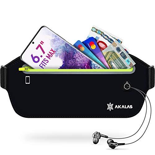 Akalas Laufgürtel für Handy, wasserdichte Sport Hüfttasche, ultraleichte Bauchtasche mit verstellbaren Gummiband, abprallfreie Lauftasche für Joggen, Fitness,...