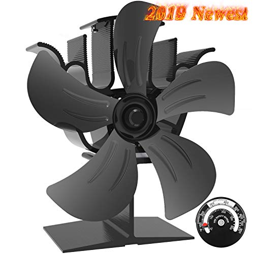 Large stove fan with 5 blades for plenty of space on the wood / wood burner / stove / fireplace, environmentally friendly quiet fireplace fan (black) [energy class A +++]