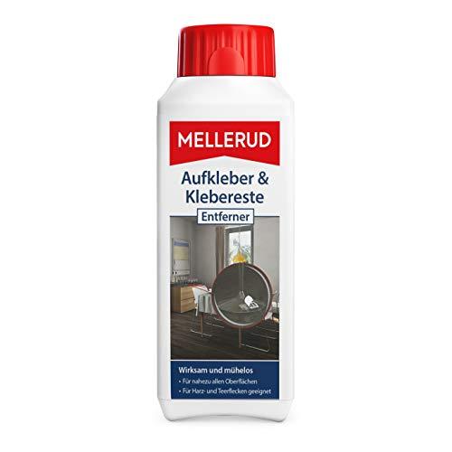 Mellerud Aufkleber & Klebereste Entferner – Wirkungsvolles Reinigungsmittel zum Entfernen von Aufklebern und Etiketten auf Allen unempfindlichen Oberflächen – 1...