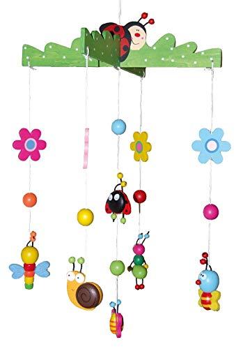 Bieco 3D Baby Mobile Käferchen aus robustem Holz, Viele bunte Tiere und Blumen, Blickfang am Babybett, Kinderbett, Wickeltisch oder am Spielbogen. Für Babys ab 0...