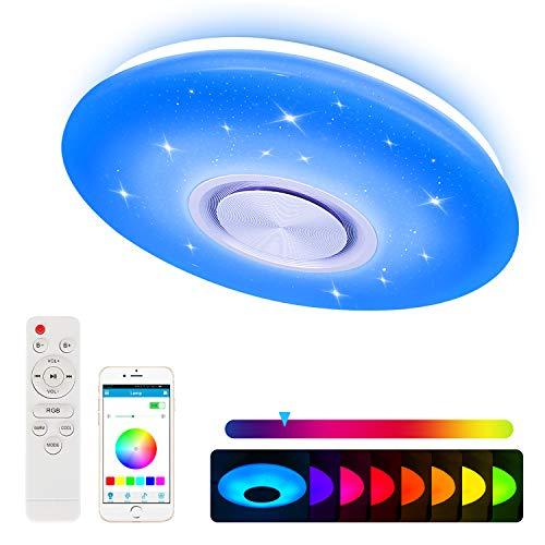 Nakeey LED Deckenleuchte mit Bluetooth Lautsprecher für Schlafzimmer Kinderzimmer Wohnzimmer, Dimmbar Deckenlampe Farbwechsel mit Fernbedienung und APP-Steuerung...