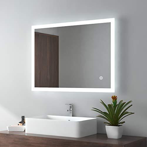 EMKE LED Badspiegel 80x60cm Badezimmerspiegel mit Beleuchtung kaltweiß Lichtspiegel Wandspiegel mit Touchschalter + beschlagfrei IP44 energiesparend