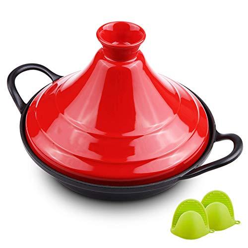 BAQQ 27 cm bleifreies Kochen Tagine,Keramikauflauf mit Tajine-Topf und Silikonhandschuhen für Verschiedene Kochstile - Kompatibel mit Allen Öfen