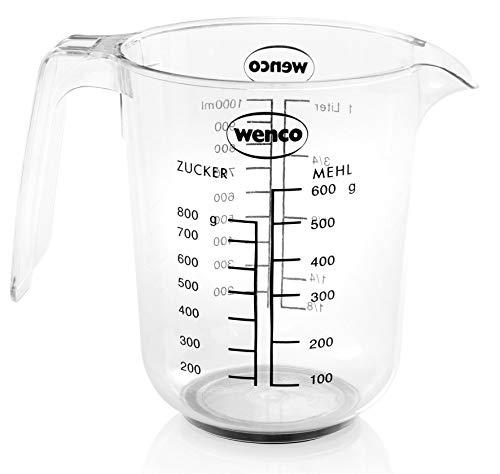 wenco Messbecher mit 1 l Fassungsvermögen, Maßeinheiten für ml, l, Zucker und Mehl, Spülmaschinengeeignet, Kunststoff, Transparent, 517614