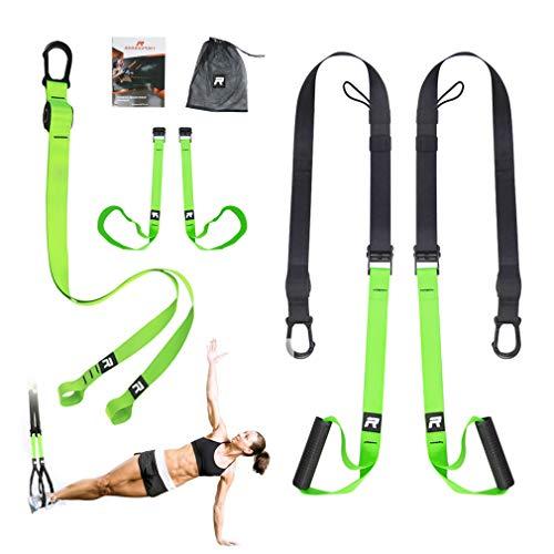 RHINOSPORT Schlingentrainer Sling Trainer Set mit Türanker Einstellbar Fitness Zuhause Suspension - geeignet für unterwegs und für das Training im Innen- und...