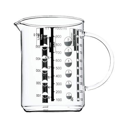 WMF Gourmet Messbecher 1,0l, hitzebeständiges Glas, Skalierung für Liter, Milliliter, Tassen und Gramm