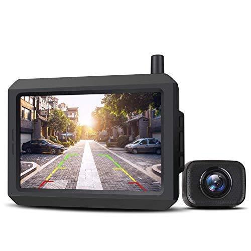 AUTO-VOX W7 Kabellos Digital Rückfahrkamera Set mit 12.7cm LCD-Monitor mit Antenne, eingebautem Funksender, Wireless Einparkhilfe,Wasserdicht...