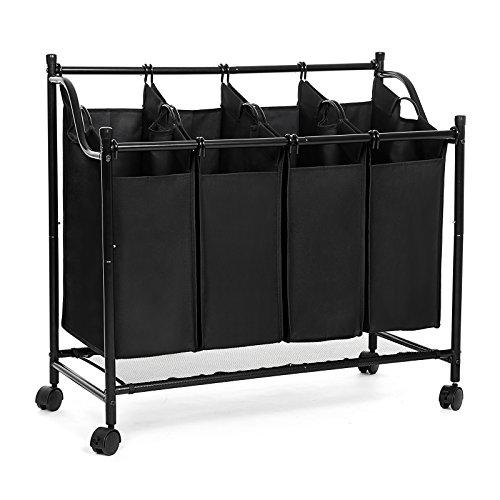 SONGMICS Wäschekorb, Wäschesammler mit 4 abnehmbaren Stofftaschen, Wäschebehälter auf Rollen, Wäschesortierer, stabil, 4 x 35 Liter, schwarz LSF005