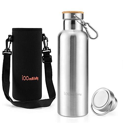iParaAiluRy Trinkflasche Edelstahl mit Bambus Kappe (2 Trinkverschlüsse) - BPA freie Thermosflaschen 500/600/750/1000ml - Vakuumisolierte Doppelwandig Isolier...