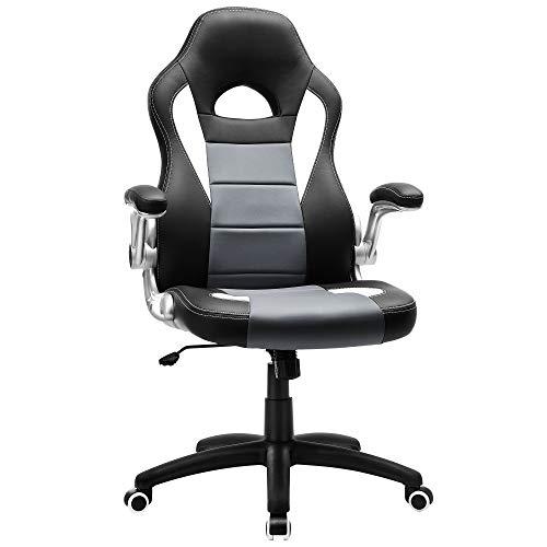 SONGMICS Gamingstuhl, Racing Chair, Schreibtischstuhl mit hoher Rückenlehne, Bürostuhl, höhenverstellbar, hochklappbare Armlehnen, Wippfunktion, für Gamer,...