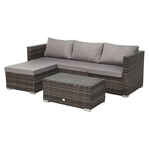 SVITA Queens 2020 poly rattan sofa set couch set corner sofa sofa set garden furniture lounge black, gray or brown (brown)