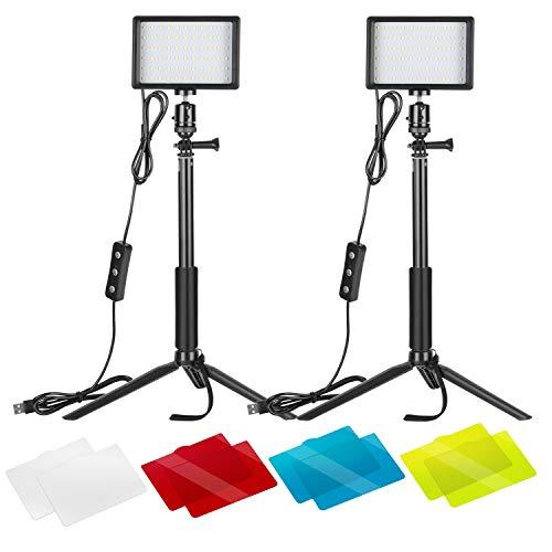 Neewer 2 Packung Dimmbares 5600K USB-LED-Videolicht mit verstellbarem Stativ Farbfilter für Tisch-Flachwinkelaufnahmen farbenfroh Beleuchtung Produktporträt...