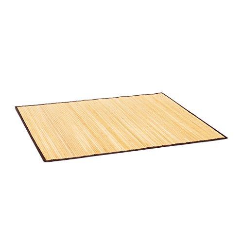 Relaxdays Badvorleger Bambus BxT: 100x80 cm Badeteppich aus Holz mit rutschhemmender Unterseite als praktischer Duschvorleger aus natürlichem Bambus, Stoff in...