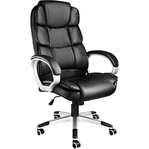 TecTake 403238 Chefsessel mit doppelter Polsterung, ergonomischer Bürostuhl mit Armlehnen, höhenverstellbar, stufenlose Wippmechanik, Lederoptik, schwarz
