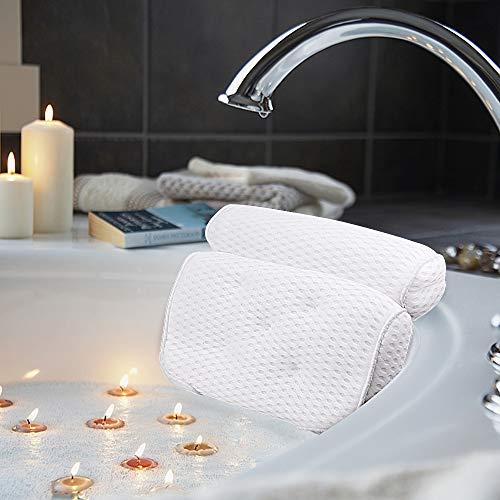 AmazeFan Badewannenkissen, Luxus Badewanne & Spa-Kissen mit 4D-Air-Mesh-Technologie und 5 Saugnäpfen. Stützfunktion für Kopf, Rücken, Schulter, Nacken. Geeignet...