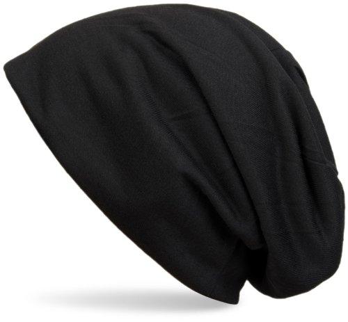 styleBREAKER Klassische Slouch Beanie Mütze, leicht, Unisex 04024018, Farbe:Schwarz