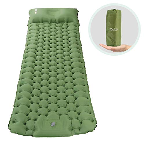 Isomatte Camping Selbstaufblasbare mit Fußpresse Pumpe, Memory Foam Kissen Campingmatratze 195*65*8cm Ultraleichte Schlafmatte Feuchtigkeitsbeständige für...