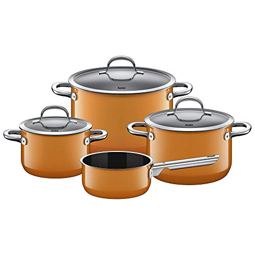 Silit Passion Orange Topfset Induktion 4-teilig, Kochtopf Set mit Glasdeckel, Silargan Funktionskeramik, Induktions Töpfe Set nickelfrei, orange