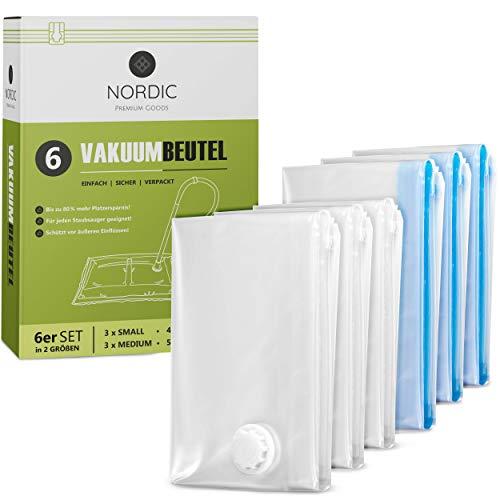 NORDIC® - Vakuumbeutel 6er Set (60x40cm + 70x50cm) – BPA Frei INKL. ETIKETTEN - Vakuumbeutel für Kleidung - Vakuum Aufbewahrungsbeutel - Vakuumiererbeutel -...