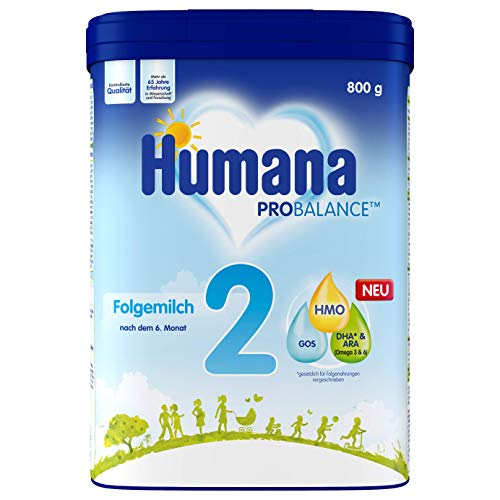 Humana Folgemilch 2, Babynahrung im Anschluss an das Stillen, nach dem 6. Monat, Pulver, 800 g