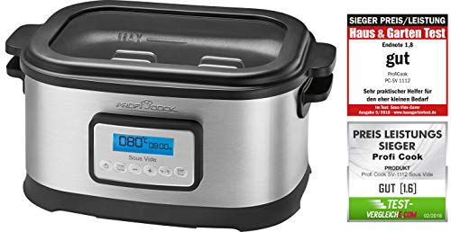 Profi Cook SV-1112 ProfiCook Sous Vide–Schongarer Topf und Vakuum für Küche Kochen bei niedrigen Temperaturen, 8,5l, 520W, grau/schwarz[Energieklasse...