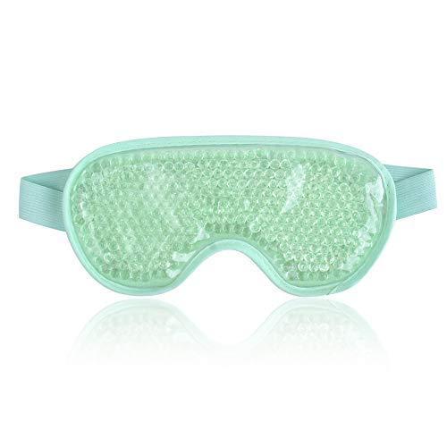 NEWGO®Kühlend Augenmaske Kühlmaske Kühlpads Gel Augenmaske für Die Augen, Migräne, Geschwollene Augen, Trockene Augen und Kopfweh - Grün