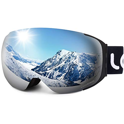 LEMEGO Ski Goggles Ski Goggles Snowboard Goggles Double Lens Anti-Fog Frameless UV Protection Snow Goggles Helmet Compatible Magnetic Interchangeable Lenses Glasses For Women ...