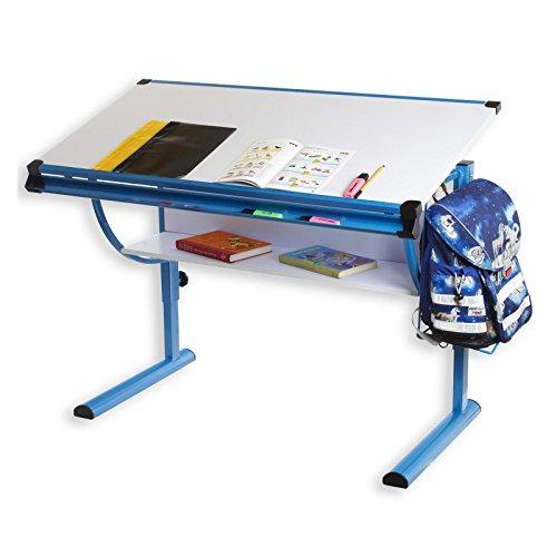 IDIMEX Kinderschreibtisch Schülerschreibtisch Blue in weiß blau Schreibtisch höhenverstellbar neigungsverstellbar