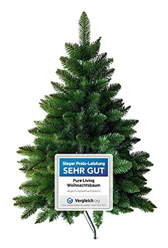Weihnachtsbaum künstlich 120 cm – Dichte Zweige, einfacher Aufbau, Made in EU - Authentischer Christbaum mit Metallständer – Edle Nordmanntanne - Exklusiver...