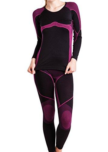 Gomati Damen Ski-, Thermo- & Funktionswäsche Set Seamless Schwarz/Pink - L/XL