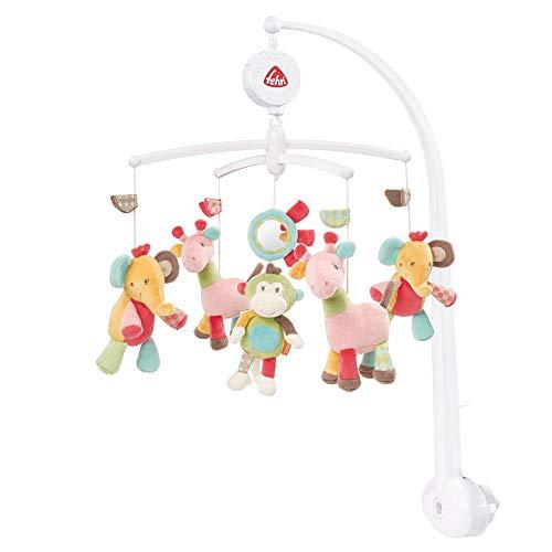 Fehn 074291 Musik-Mobile Safari – Spieluhr-Mobile mit bunten Safari-Tieren zum Lauschen & Staunen – Zum Befestigen am Bett für Babys von 0-5 Monaten – Höhe:...