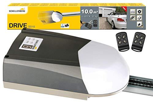 Schellenberg 60910 Garagentorantrieb Drive SD10 für Tore bis 10 m², 600N, inkl. 2 Handsender 433 MHz und Notentriegelung, Elektrischer Torantrieb mit Softstart- /...