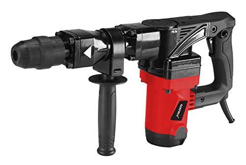 Matrix Abbruchhammer, 1300 Watt, 25 Joule Schlagkraft, 4.300 Schläge pro Minute, mit Zusatzhandgriff, Meißel und Koffer