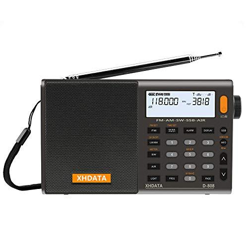 XHDATA D-808 tragbares digitales Radio UKW-Stereo/KW / MW/LW SSB RDS Air Band Multi-Band-Radio Lautsprecher mit LCD-Anzeige Wecker Externe Antenne und 2000 mah...