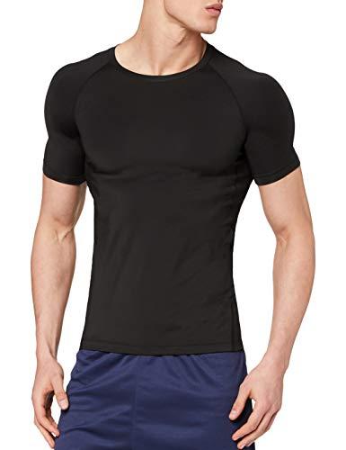 OXENSPORT Funktionsshirt Herren, Kompressionsshirt Fitness Kurzarm, Laufshirt Männer, Sportshirts Atmungsaktiv (Schwarz, XXL)