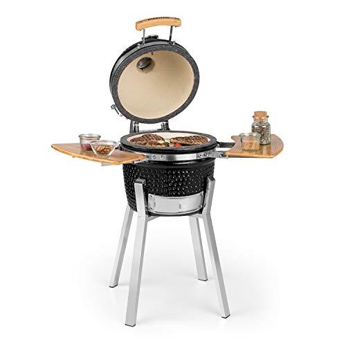 Klarstein Princesize Pro Kamado - Grill Keramikgrill Smoker BBQ, Durchmesser: 13' (33 cm), Edelstahl-Grillrost, zum Grillen, langsamen Garen, Smoken oder Backen,...