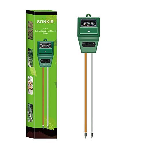 Sonkir Boden-pH-Meter, MS02 3-in-1-Boden-Feuchtigkeits- / Licht- / pH-Tester Garten-Toolkits für die Pflanzenpflege, ideal für Garten-, Rasen-, Farm-, Innen- und...